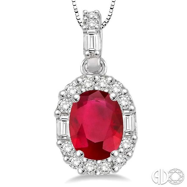 6x4 MM Oval Shape Ruby and 1/4 Ctw Diamond Pendant in 14K White Gold with Chain Image 3 Robert Irwin Jewelers Memphis, TN