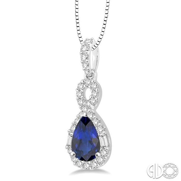 7x5 MM Pear Shape Sapphire and 1/3 Ctw Diamond Pendant in 14K White Gold with Chain Image 2 Robert Irwin Jewelers Memphis, TN