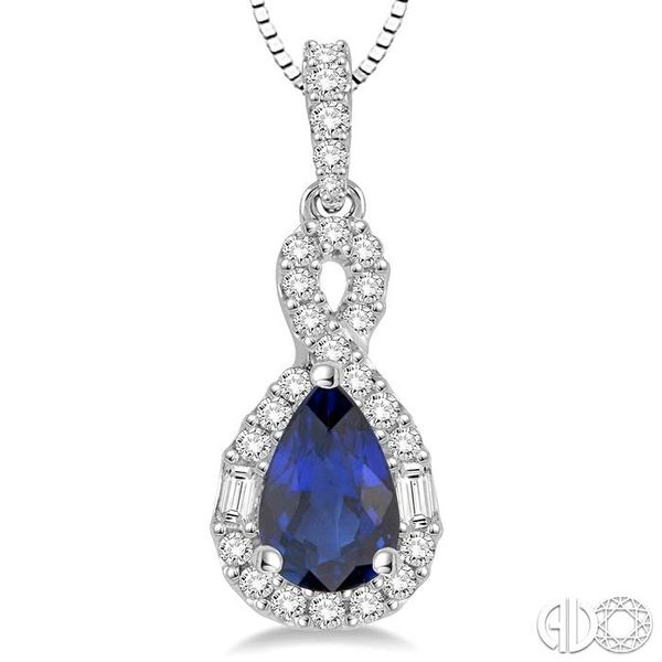 7x5 MM Pear Shape Sapphire and 1/3 Ctw Diamond Pendant in 14K White Gold with Chain Image 3 Robert Irwin Jewelers Memphis, TN