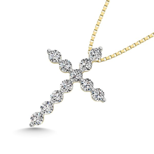 14K Yellow Gold 1/5 Ct.Tw.Diamond Cross Pendant Image 2 Robert Irwin Jewelers Memphis, TN