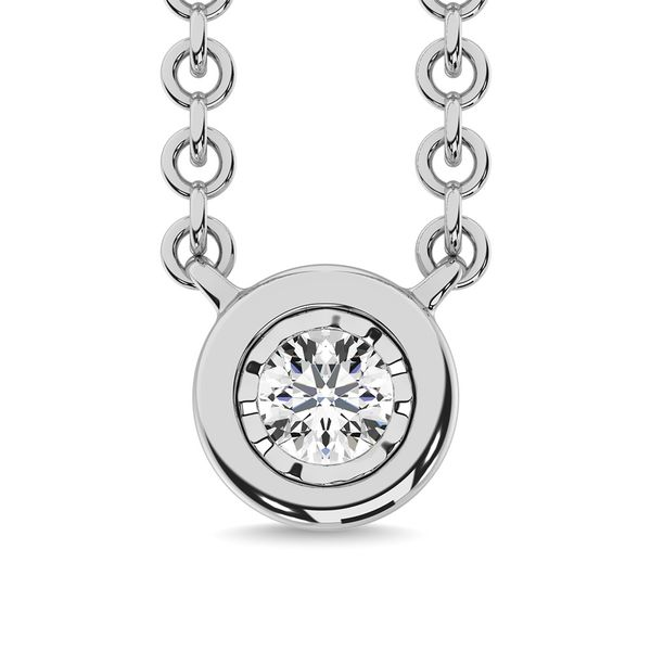 Diamond 1/20 Ct.Tw. Solitaire Necklace in 10K White Gold Robert Irwin Jewelers Memphis, TN