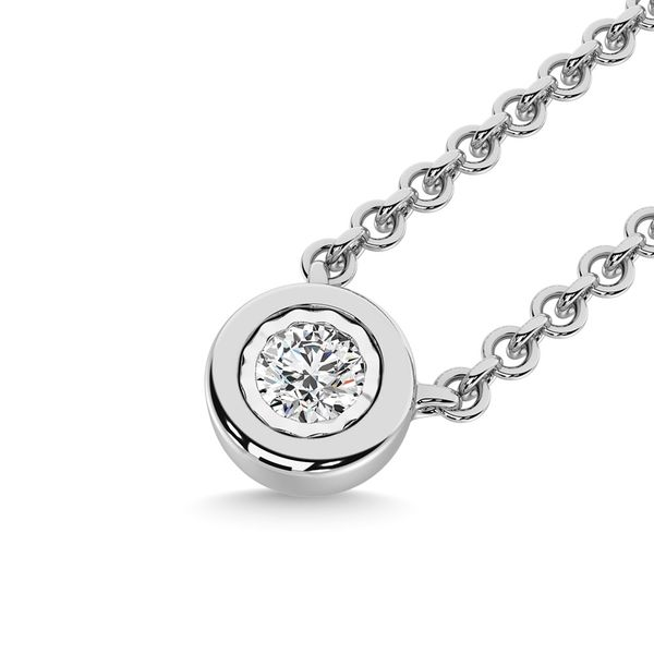 Diamond 1/20 Ct.Tw. Solitaire Necklace in 10K White Gold Image 2 Robert Irwin Jewelers Memphis, TN
