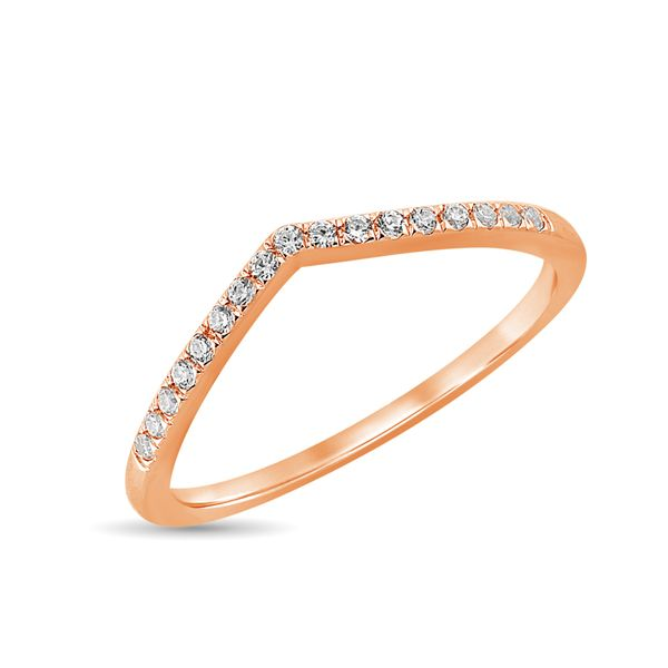 Diamond 1/6 Ct.Tw. Chevron Band in 14K Rose Gold Robert Irwin Jewelers Memphis, TN