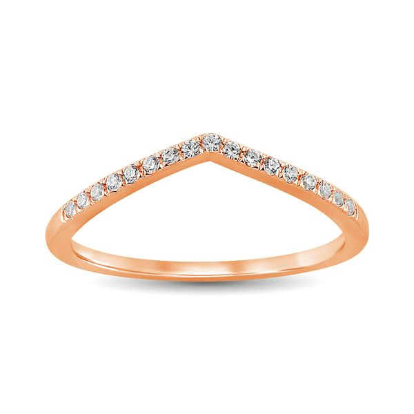 Diamond 1/6 Ct.Tw. Chevron Band in 14K Rose Gold Image 2 Robert Irwin Jewelers Memphis, TN