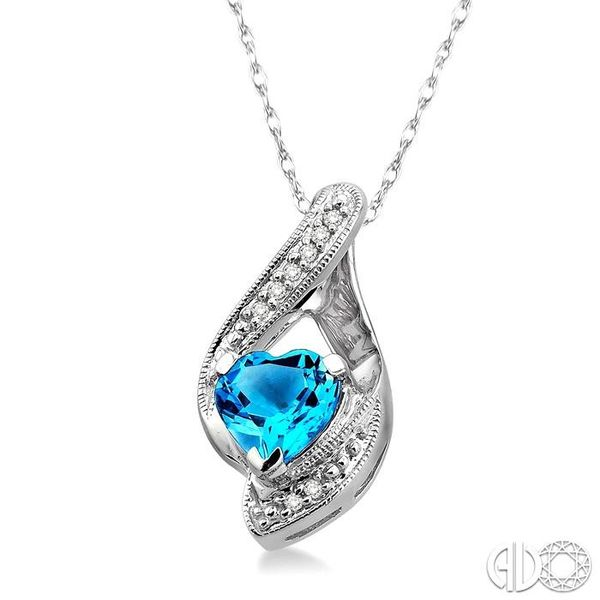 7mm Heart Shape Blue Topaz and 1/20 Ctw Single Cut Diamond Pendant in 14K White Gold with Chain Image 2 Robert Irwin Jewelers Memphis, TN