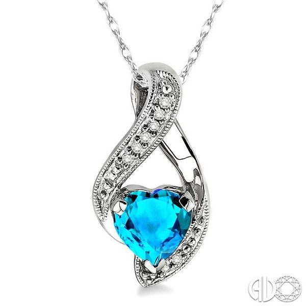 7mm Heart Shape Blue Topaz and 1/20 Ctw Single Cut Diamond Pendant in 14K White Gold with Chain Image 3 Robert Irwin Jewelers Memphis, TN