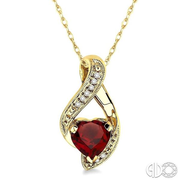 7mm Heart Shape Garnet and 1/20 Ctw Single Cut Diamond Pendant in 14K Yellow Gold with Chain Robert Irwin Jewelers Memphis, TN