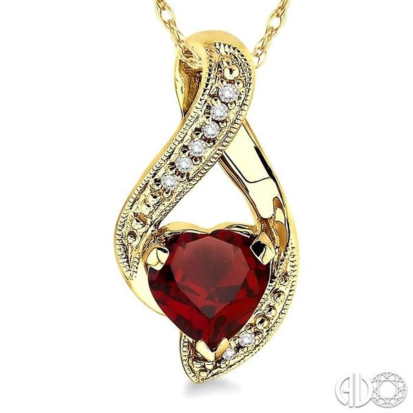 7mm Heart Shape Garnet and 1/20 Ctw Single Cut Diamond Pendant in 14K Yellow Gold with Chain Image 3 Robert Irwin Jewelers Memphis, TN
