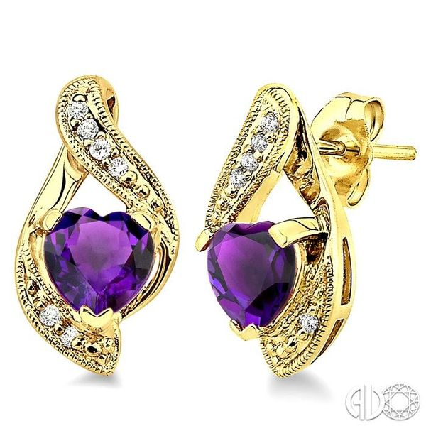 6x6mm Heart Shape Amethyst and 1/20 Ctw Single Cut Diamond Earrings in 10K Yellow Gold Robert Irwin Jewelers Memphis, TN