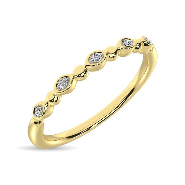 Diamond 1/50 Ct.Tw. Marquise and Bubble Shape Stackable Band in 10K Yellow Gold Image 3 Robert Irwin Jewelers Memphis, TN
