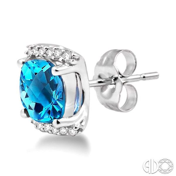 6x6mm Cushion Cut Blue Topaz and 1/10 Ctw Round Cut Diamond Earrings in 14K White Gold Image 3 Robert Irwin Jewelers Memphis, TN