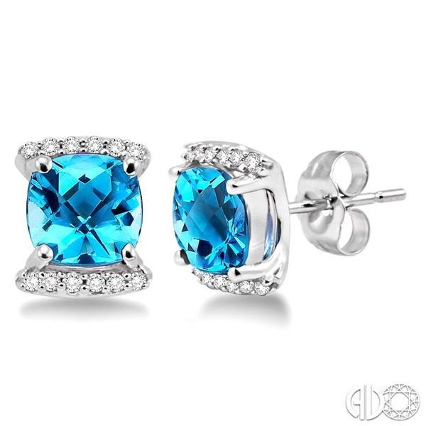 6x6mm Cushion Cut Blue Topaz and 1/10 Ctw Round Cut Diamond Earrings in 14K White Gold Robert Irwin Jewelers Memphis, TN