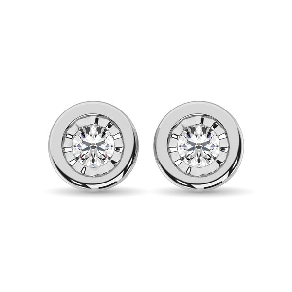 Diamond 1/6.Tw. Solitaire Studs in 10K White Gold Image 2 Robert Irwin Jewelers Memphis, TN