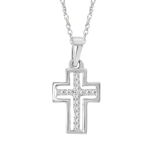 10K White Gold 1/20 Ctw Diamond Cross Pendant Robert Irwin Jewelers Memphis, TN