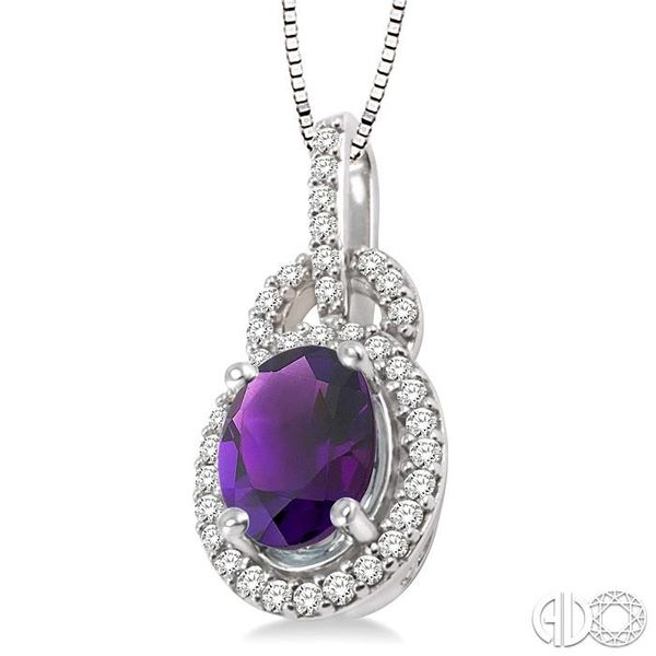 8x6mm Oval Cut Amethyst and 1/4 Ctw Round Cut Diamond Pendant in 14K White Gold with Chain Image 2 Robert Irwin Jewelers Memphis, TN