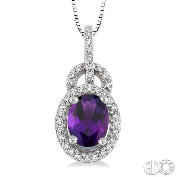 8x6mm Oval Cut Amethyst and 1/4 Ctw Round Cut Diamond Pendant in 14K White Gold with Chain Robert Irwin Jewelers Memphis, TN