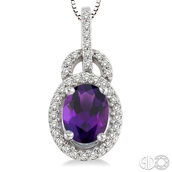 8x6mm Oval Cut Amethyst and 1/4 Ctw Round Cut Diamond Pendant in 14K White Gold with Chain Image 3 Robert Irwin Jewelers Memphis, TN