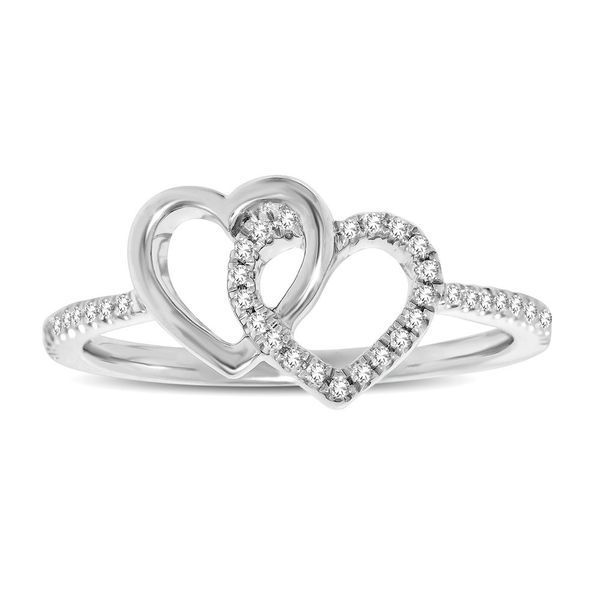 10K White Gold 1/6 Ctw Diamond Double Heart Ring Robert Irwin Jewelers Memphis, TN