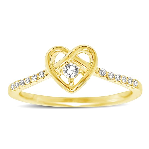 10K Yellow Gold 1/5 Ctw Diamond Heart Ring Robert Irwin Jewelers Memphis, TN