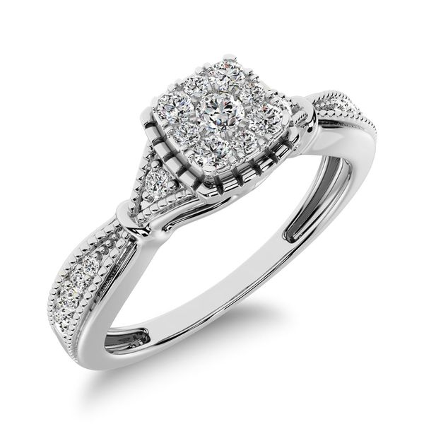 10K White Gold 1/5 Ct.Tw. Diamond Square Cluster Engagement Ring Robert Irwin Jewelers Memphis, TN