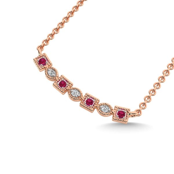 Diamond 1/10 Ct.Tw. Fashion Necklace in 10K Rose Gold Image 2 Robert Irwin Jewelers Memphis, TN