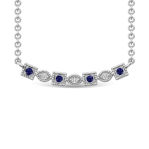 Diamond 1/8 Ct.Tw. And Blue Sapphire Fashion Necklace in 10K White Gold Robert Irwin Jewelers Memphis, TN