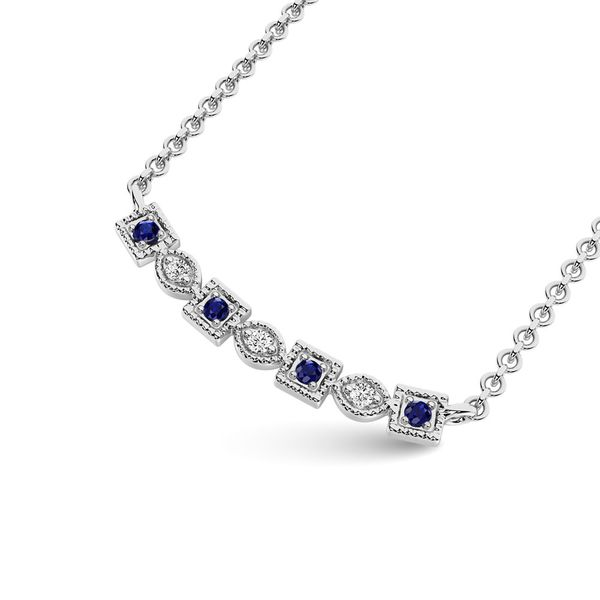 Diamond 1/8 Ct.Tw. And Blue Sapphire Fashion Necklace in 10K White Gold Image 2 Robert Irwin Jewelers Memphis, TN