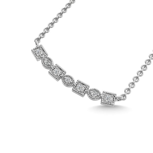 Diamond 1/10 Ct.Tw. Fashion Necklace in 10K White Gold Image 2 Robert Irwin Jewelers Memphis, TN