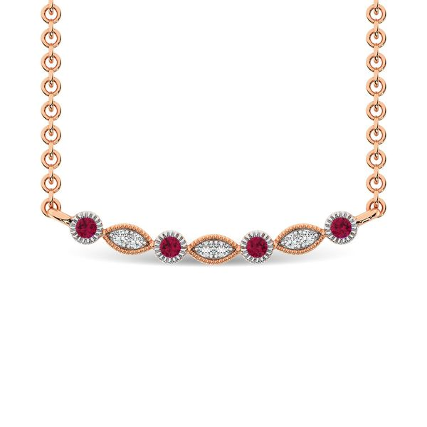 Diamond 1/8 Ct.Tw. And Ruby Fashion Necklace in 10K Rose Gold Robert Irwin Jewelers Memphis, TN