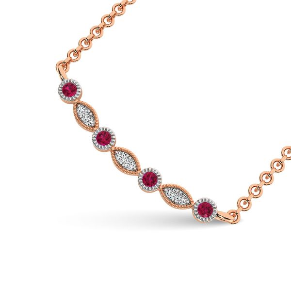 Diamond 1/8 Ct.Tw. And Ruby Fashion Necklace in 10K Rose Gold Image 2 Robert Irwin Jewelers Memphis, TN