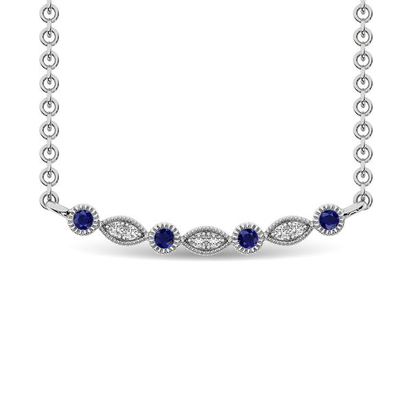 Diamond 1/10 Ct.Tw. And Blue Sapphire Fashion Necklace in 10K White Gold Robert Irwin Jewelers Memphis, TN