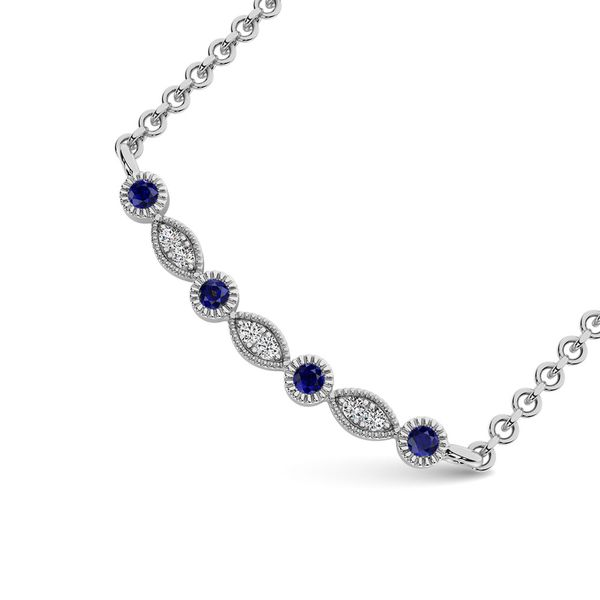 Diamond 1/10 Ct.Tw. And Blue Sapphire Fashion Necklace in 10K White Gold Image 2 Robert Irwin Jewelers Memphis, TN