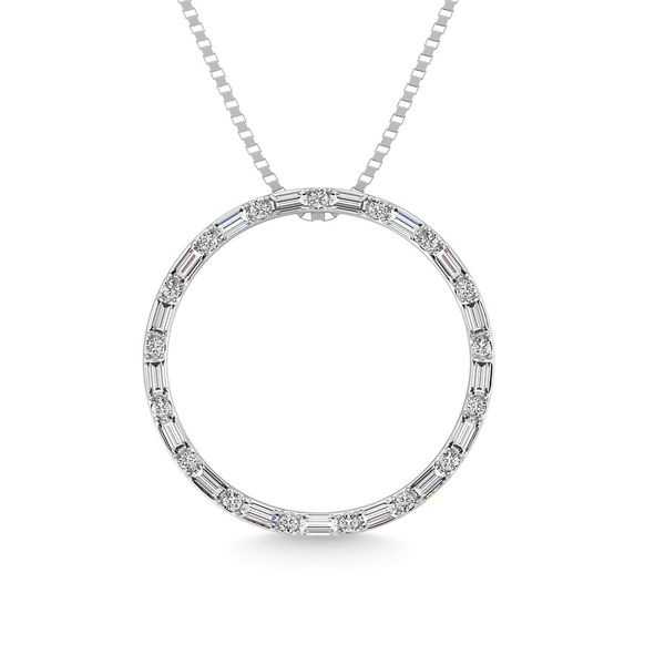 Diamond 1/5 Ct.Tw. Round and Baguette Open Circle Pendant in 10K White Gold Robert Irwin Jewelers Memphis, TN