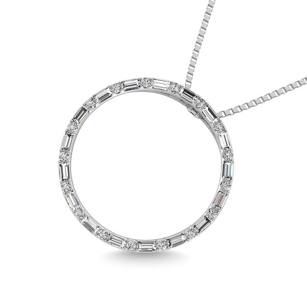 Diamond 1/5 Ct.Tw. Round and Baguette Open Circle Pendant in 10K White Gold Image 2 Robert Irwin Jewelers Memphis, TN