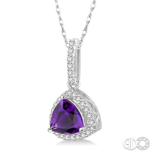 1/6 Ctw Round Cut Diamond Trillion Cut 7x7mm Amethyst Semi Precious Pendant in 10K White Gold with chain Image 2 Robert Irwin Jewelers Memphis, TN