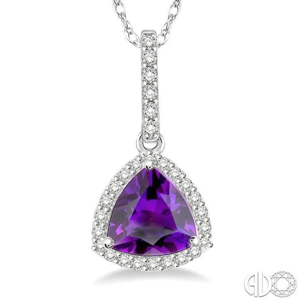 1/6 Ctw Round Cut Diamond Trillion Cut 7x7mm Amethyst Semi Precious Pendant in 10K White Gold with chain Image 3 Robert Irwin Jewelers Memphis, TN