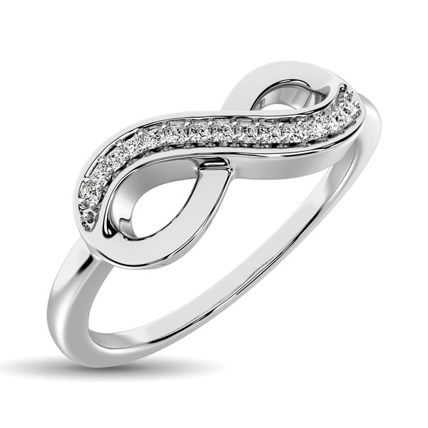 10K White Gold 1/20 Ctw Diamond Infinity Ring Robert Irwin Jewelers Memphis, TN
