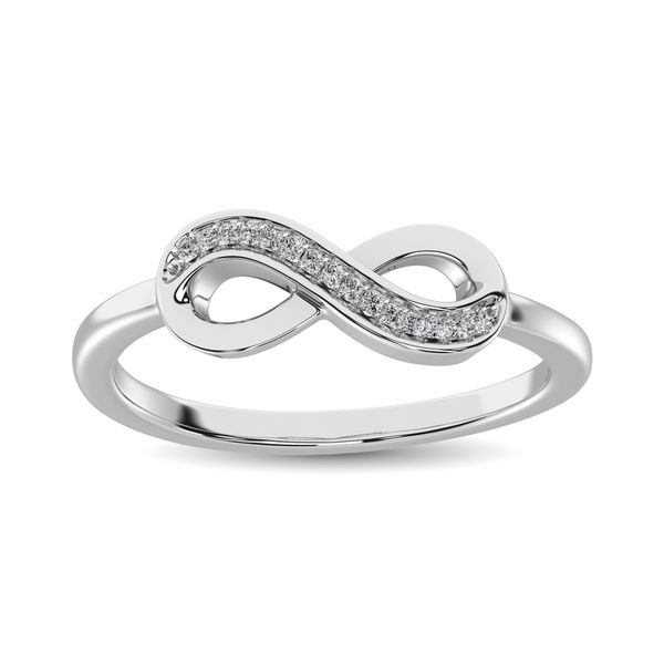 10K White Gold 1/20 Ctw Diamond Infinity Ring Image 2 Robert Irwin Jewelers Memphis, TN