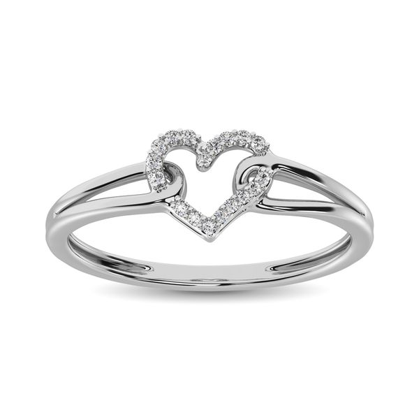 10K White Gold 1/20 Ctw Diamond Heart Ring Image 2 Robert Irwin Jewelers Memphis, TN