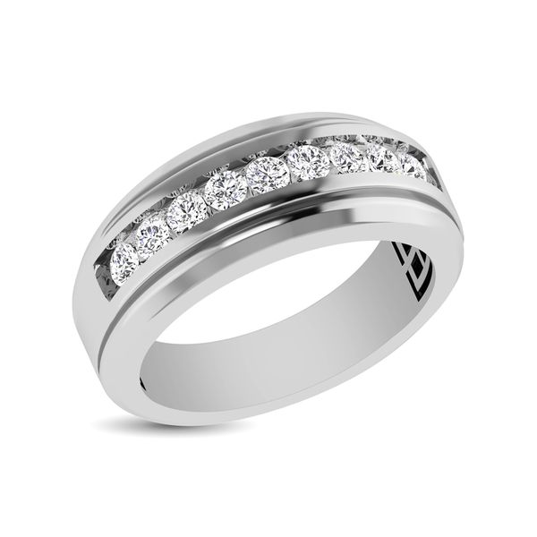 10K White Gold 1 Ct.Tw. Diamond 9 Stone Satin Finish Mens Band Robert Irwin Jewelers Memphis, TN