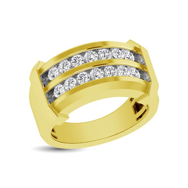 10K Yellow Gold 1/5 Ctw Round Cut Diamond Mens Wedding Band Robert Irwin Jewelers Memphis, TN