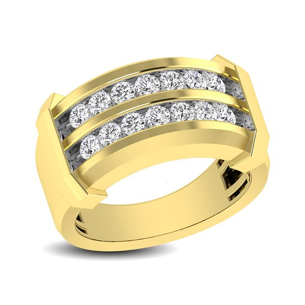 10K Yellow Gold 1/5 Ctw Round Cut Diamond Mens Wedding Band Image 2 Robert Irwin Jewelers Memphis, TN