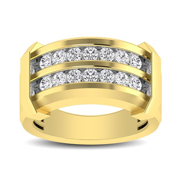 10K Yellow Gold 1/5 Ctw Round Cut Diamond Mens Wedding Band Image 3 Robert Irwin Jewelers Memphis, TN