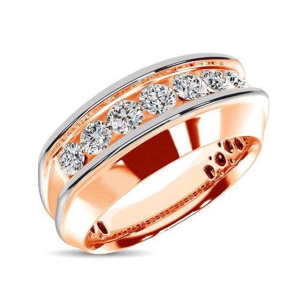 10K Rose Gold With Accent of 10K White Gold 1/4 Ct.Tw. Diamond 7 Stone Mens Band Robert Irwin Jewelers Memphis, TN