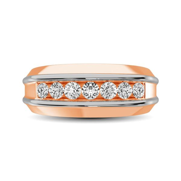10K Rose Gold With Accent of 10K White Gold 1/4 Ct.Tw. Diamond 7 Stone Mens Band Image 2 Robert Irwin Jewelers Memphis, TN