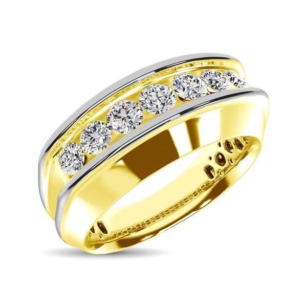 10K Yellow Gold with Accent of 10K White Gold 1/4 Ct.Tw. Diamond 7 Stone Mens Band Robert Irwin Jewelers Memphis, TN