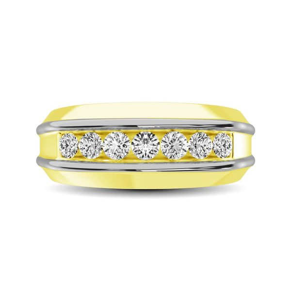 10K Yellow Gold with Accent of 10K White Gold 1/4 Ct.Tw. Diamond 7 Stone Mens Band Image 2 Robert Irwin Jewelers Memphis, TN