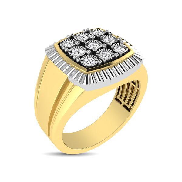 10K Yellow Gold 1/5 Ct.Tw. Diamond Illusion Men's Fashion Ring Robert Irwin Jewelers Memphis, TN