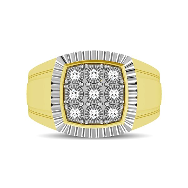 10K Yellow Gold 1/5 Ct.Tw. Diamond Illusion Men's Fashion Ring Image 2 Robert Irwin Jewelers Memphis, TN