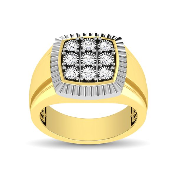 10K Yellow Gold 1/5 Ct.Tw. Diamond Illusion Men's Fashion Ring Image 3 Robert Irwin Jewelers Memphis, TN
